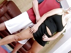 Excited aged lady widen legs to get deeply permeated